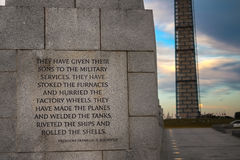 World War II Memorial. Words of the President Franklin Roosevelt engraved on a stone at the World War Memorial in Washington DC. On the background the Washington Royalty Free Stock Image