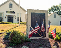 World War II monument. A stone memorial dedicated to Charlestown, RI residents who sacrificed their lives during World War II, in front of the town hall.  ( Royalty Free Stock Photo