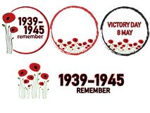 World War II, poppy flowers background. World War II commemorative symbol with dates 1939-1945, victory day, poster or banner of remembrance day of Canada with Stock Photos