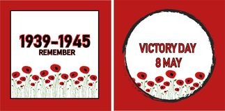 World War II, poppy flowers background. World War II commemorative symbol with dates 1939-1945, victory day, poster or banner of remembrance day of Canada with Stock Photo