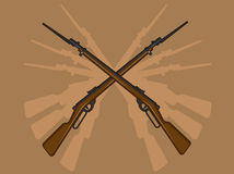 World War II Rifle with Bayonet. A vector image of rifle with bayoney. This vector is very good for design that needs old-chool weaponry element Royalty Free Stock Photography