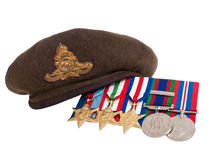 World War II soldier's beret and medals Royalty Free Stock Image