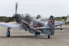 World War II Soviet fighter Yakovlev Yak-3 on runway at the CIAF - Czech international air fest on September 5, 2015 in Hradec Kra Royalty Free Stock Photo