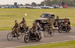 The World War II 75th commemorative parade. The World War II 75th commemorative parade at the 2014 Goodwood Revival, Sussex, UK Stock Image