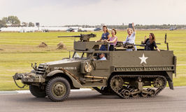 The World War II 75th commemorative parade. The World War II 75th commemorative parade at the 2014 Goodwood Revival, Sussex, UK Royalty Free Stock Photo