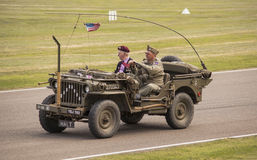 The World War II 75th commemorative parade. The World War II 75th commemorative parade at the 2014 Goodwood Revival, Sussex, UK Royalty Free Stock Images