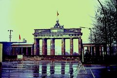 The World-War-II-torn Brandenburg Gate just behind the Berlin Wall in then-East Berlin, Germany * November, 1966. Camera used: Voigtlander Bessamatic Deluxe 35mm Stock Photos