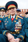 World War II veteran, retired general Linnik V. MOSCOW - MAY 9: World War II veteran, retired general Linnik V.I. on Victory Day celebration on Red Square, May stock images