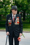 World War II veteran on Victory Day celebration on the Ploshhad' Pavshih Borcov in Volgograd royalty free stock image