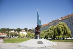 World War II Victims Monument in Prague, Czech Republic. Czechia people and foreigner travelers  travel and visit World War II Victims Monument in garden near Royalty Free Stock Photography