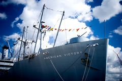 A WW II Victory Ship. A world war II victory ship located in Tampa, FL on a bright sunny day Stock Images