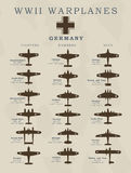 World War II warplanes in  silhouette line illustrations by countries, America, Great Britain, Germany, Japan Stock Image