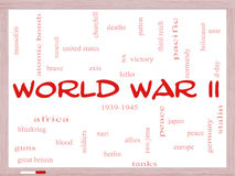 World War II Word Cloud Concept on a Whiteboard. With great terms such as guns, axis, allies, victory and more Royalty Free Stock Photography