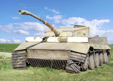 World war II wrecked german tank Stock Image