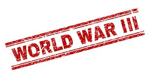 Scratched Textured WORLD WAR III Stamp Seal stock illustration