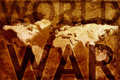 World war map. Map of the world on old grunge background with text World War Royalty Free Illustration