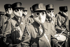 World War 2 Marching Band with Gas Masks Stock Image