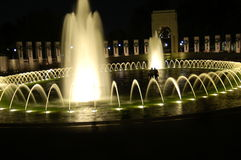 World War 2 Memorial at Night. With fountain flowing and lights Royalty Free Stock Photography