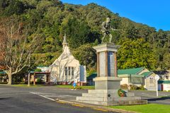 World War 1 memorial and old church, Te Aroha, New Zealand royalty free stock photo