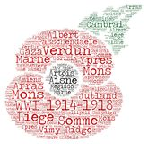 World War One Battles Word Art. Word art word cloud of most famous and decisive battles of the first world war in a poppy motif shape to commemorate the 100 year Royalty Free Stock Photos