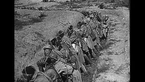 World War 1 – French colonial troops getting up gas masks