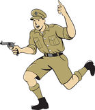 World War One British Officer Running Pistol Cartoon Stock Image