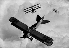 World War One Era aircraft. Vintage Style Image of Wolrd War One Bi-planes and Triplanes engaged in a dogfight. (Artist's impression Stock Image