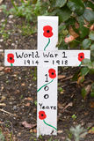 World War One memorial crosses with painted poppy Royalty Free Stock Images