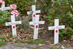 World War One memorial crosses with painted poppy Royalty Free Stock Photo