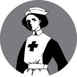 World War One Nurse Clipart. Black and white clip-art vector illustration of a woman in an uniform of a First World War time nurse Royalty Free Stock Images