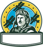 World War One Pilot Airman Spad Biplane Circle Retro. Illustration of a vintage world war one pilot airman aviator with mustache bust with spad biplane fighter Royalty Free Stock Photography