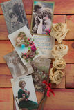 World war one postcards collage and dried roses Royalty Free Stock Photo