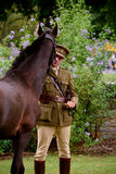 World War One re-enactment Cavalry Officer with horse Royalty Free Stock Photo