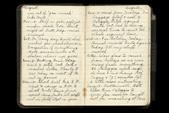 World War One Soldier's Diary Pages. Diary entries of a WWI American soldier, August 9th - August 15th, 1918 royalty free stock image