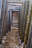 World War One Style Trench, Replica. A replica of a world war one style trench. Wood wall and dirt floor Stock Photos