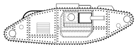 World War One Tank Line Drawing. An early World War One tank line drawing over a white background Royalty Free Stock Photo