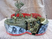 World war one trench model. Handmade for the 100th anniversary in 2018. with 2018 handmade poppies on it royalty free stock images