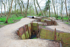World war one trenches on hill in flanders fields Belgium stock photography