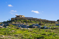 World War 2 pillbox on Malta. The remains of a World War 2 military pillbox located on the Victoria Lines on the island of Malta stock photography