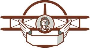 World War 1 Pilot Airman Spad Biplane Circle Retro. Illustration of a vintage world war one pilot airman aviator bust with spad biplane fighter plane set inside Royalty Free Stock Image