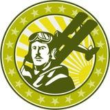 World War 1 Pilot Airman Spad Biplane Circle Retro. Illustration of a vintage world war one pilot airman aviator bust with spad biplane fighter planes, sunburst Stock Photography