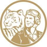 World War 2 Pilot Airman Tiger Gold Circle Retro Royalty Free Stock Photos