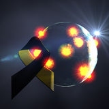 World war. Planet Earth with explosions on the surface and a black ribbon. a symbol of mourning and memory Royalty Free Stock Photos