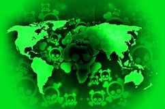 World war radioactivity. Green world map on background with skulls Stock Photography