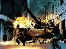 World War scene. Soldiers shooting and running under enemies fire and explosions, close to the ruins of a house and a cathedral Royalty Free Stock Images