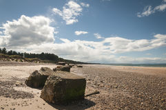World War 2 sea defences. Along the South shore of the Moray Firth near Burghead, Moray, Scotland Stock Photo