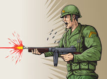World War 2 soldier. Illustration of a Soldier firing a machine gun Royalty Free Stock Photography