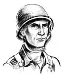 World war 2 soldier. Ink black and white drawing of a World War 2 soldier Stock Photo