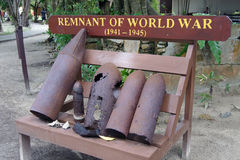 World War Spent Shell Cases. Display of old used World War artillery Shell on manukan Island Manukan Island (Pulau Manukan) is the second largest island in the Stock Images