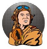World War two ace pilot. Art vector illustration